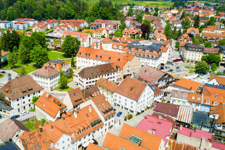Fussen old town aerial panoramic view. Fussen is a small town in Bavaria, Germany.