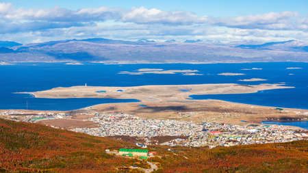 Ushuaia aerial view from the Martial Glacier. Ushuaia is the main city of Tierra del Fuego in Argentina. Stock Photo