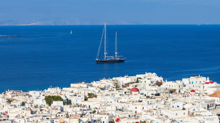 Mykonos island aerial panoramic view. Mykonos is a island, part of the Cyclades in Greece.
