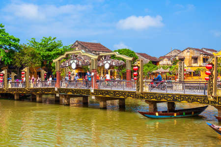 Cau An Hoi bridge in the Hoi An ancient town in Quang Nam Province of Vietnam 写真素材