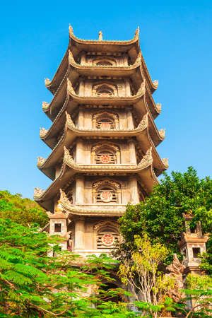 Temple pagoda at the marble mountains in Danang city in Vietnam 写真素材