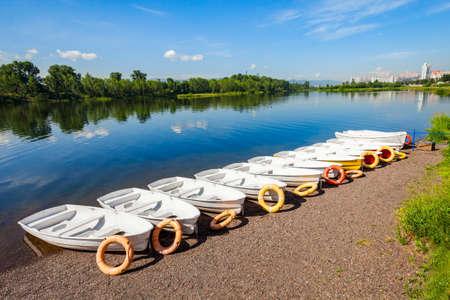 Boat rental at the Yenisei river embankment park in Krasnoyarsk, Russia Zdjęcie Seryjne