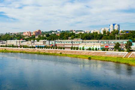 Irkutsk Railway station and Angara river in Irkutsk city, Russia. Irkutsk is a one of the largest cities in Siberia.