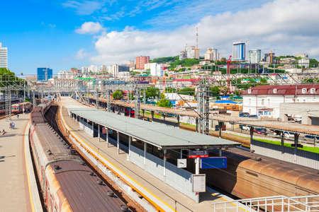 Vladivostok railway station in the center of Vladivostok city, Primorsky Krai in Russia