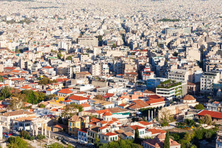 Athens aerial panoramic view from the Athenian Acropolis in Greece