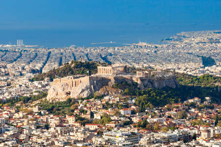 Athenian Acropolis aerial panoramic view in Athens, Greece Standard-Bild