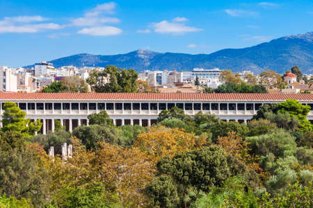 The Stoa of Attalos or Attalus was a stoa in the Ancient Agora of Athens in Greece Standard-Bild
