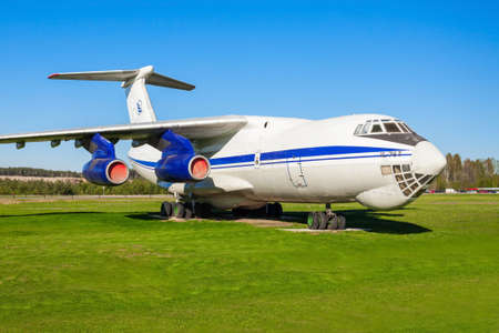 MINSK, BELARUS - MAY 05, 2016: The Ilyushin Il-76 aircraft in the open air museum of old civil aviation near Minsk airport. Il-76 is a strategic airlifter designed by the Ilyushin design bureau. 新闻类图片