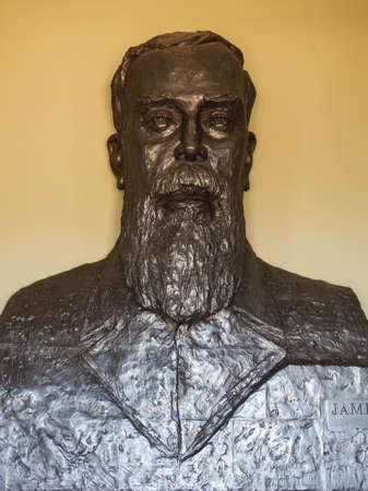 NUWARA ELIYA, SRI LANKA - FEBRUARY 22, 2017: James Taylor statue in the Mlesna Tea Castle in Nuwara Eliya, Sri Lanka. James Taylor is the father of ceylon tea industry.