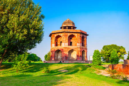 Sher Shah Mandal Pavilion or Humayuns library is located inside the Purana Qila old fort in Delhi city in India