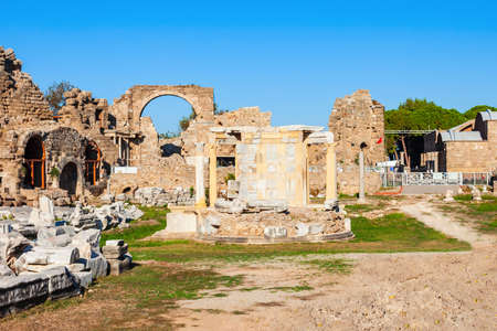 Side Tyche Temple at the ancient city of Side in Antalya region on the Mediterranean coast of Turkey.