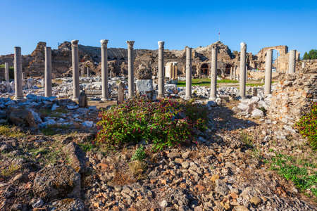 The ancient city of Side in Antalya region on the Mediterranean coast of Turkey.