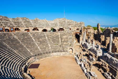 Side Roman Theatre at the ancient city of Side in Antalya region on the Mediterranean coast of Turkey. Фото со стока