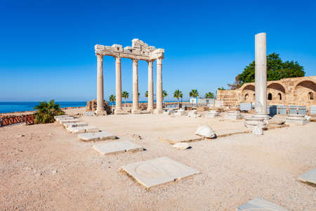 Temple of Apollo at the ancient city of Side in Antalya region on the Mediterranean coast of Turkey.