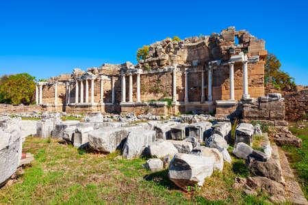Side Nymphaeum in the ancient city of Side in Antalya region on the Mediterranean coast of Turkey. Фото со стока