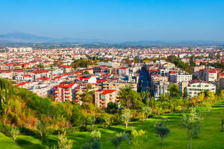 Manavgat city aerial panoramic view in Antalya region in Turkey