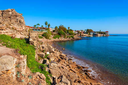 Rocky beach in the centre of Side town, situated in Antalya region on the southern Mediterranean coast of Turkey.