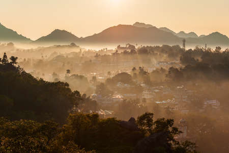 Mount Abu and Aravalli mountain range aerial panoramic view. Mount Abu is a hill station in Rajasthan state, India.