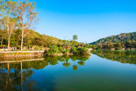 Mount Abu and Nakki lake panoramic view. Mount Abu is a hill station in Rajasthan state, India. Фото со стока