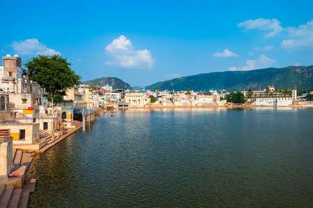 Ghats at Pushkar lake in Pushkar town in Rajasthan state of India Фото со стока