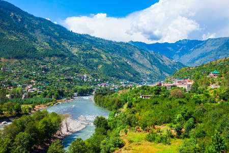 Beas river near Kullu town aerial panoramic landscape, Kullu valley in Himachal Pradesh state in India Фото со стока
