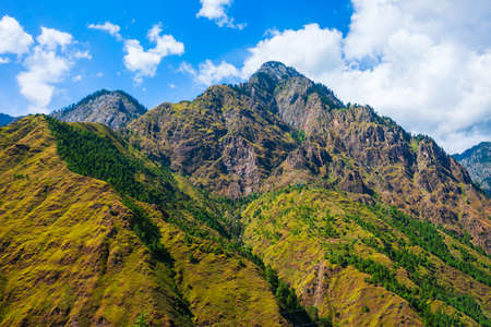 Himalaya mountains landscape in Parvati valley, Himachal Pradesh state in India