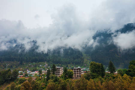 Scenic landscape view of the forested mountain slope in clouds with the evergreen conifers in mist