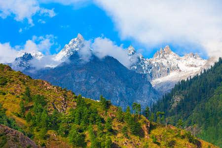 Parvati valley and Himalaya mountains, Himachal Pradesh state in India