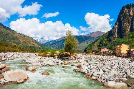 Beas river near Manali in Kullu Valley in Himachal Pradesh, India