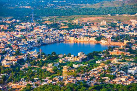 Pushkar town and lake aerial panoramic view in Rajasthan state of India