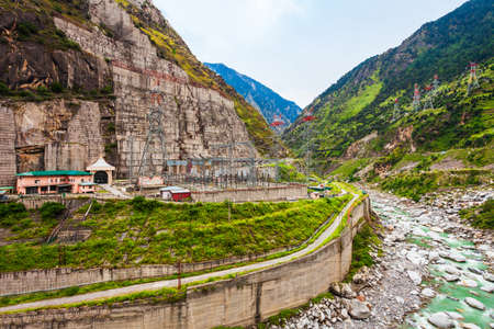 Hydroelectric power plant in the Sutlej river valley, Himachal Pradesh state in India