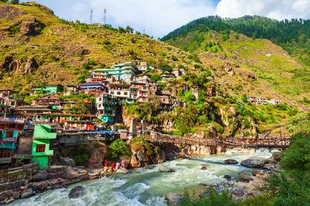 Colorful local houses in Manikaran village in Parvati valley, Himachal Pradesh state in India