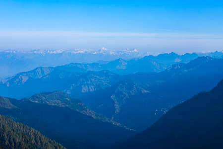 Great Himalayas or Greater Himalayas at sunrise, it is the highest mountain range, Himachal Pradesh state in India. View from Jalori Pass viewpoint. Фото со стока