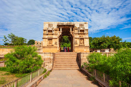 Temple gate in Chittor Fort in Chittorgarh city, Rajasthan state of India