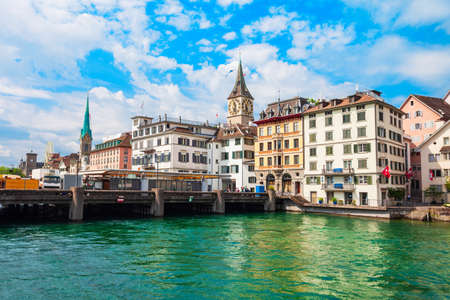 Fraumunster Church and St. Peter Church near the Limmat river in the centre of Zurich city in Switzerland