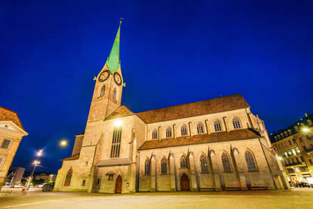 Fraumunster Church near the Limmat river in the centre of Zurich city in Switzerland Фото со стока
