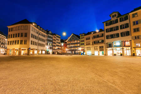 Colorful houses at the Munsterhof main square in the centre of Zurich city in Switzerland