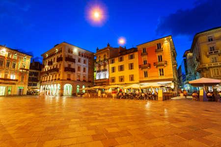 Piazza della Riforma or Reformation Square is the main square in Lugano city in canton of Ticino, Switzerland