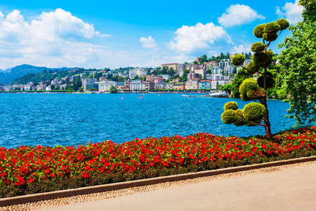 Parco Ciani is a public park in Lugano city in canton of Ticino, Switzerland Фото со стока
