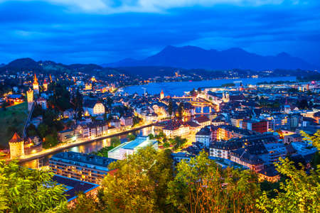 Lucerne city aerial panoramic view. Lucerne or Luzern is a city in central Switzerland.