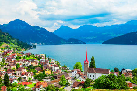 Weggis aerial panoramic view. Weggis is a town on the northern shore of Lake Lucerne in the canton of Luzern in Switzerland