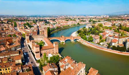 Castelvecchio or Old and Scaligero bridge aerial panoramic view in Verona, Veneto region in Italy
