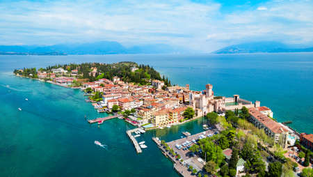 Aerial panoramic view of the Sirmione town at the Garda Lake in Italy