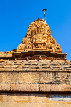 Hindu temple tower in Jaisalmer city in Rajasthan state of India