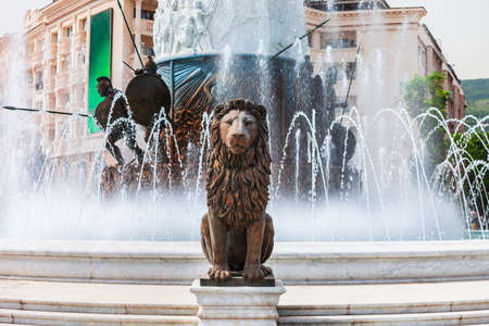 Lion statue and fountain in the centre of Macedonia Square in Skopje city, North Macedonia
