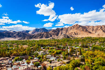 Leh aerial panoramic view. Leh is the capital and largest town of Ladakh union territory in India. 版權商用圖片