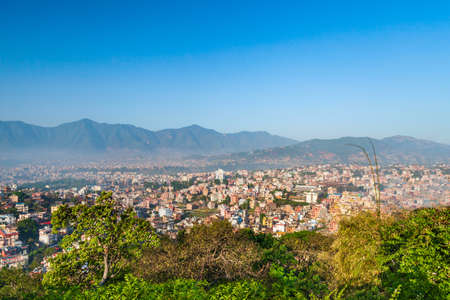 Kathmandu aerial panoramic view from the Swayambhunath Temple viewpoint. Kathmandu is the capital and largest city in Nepal.