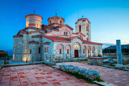 Church of Saints Clement and Panteleimon or Crkva Sveti Kliment Pantelejmon in Ohrid city, North Macedonia at sunset 版權商用圖片