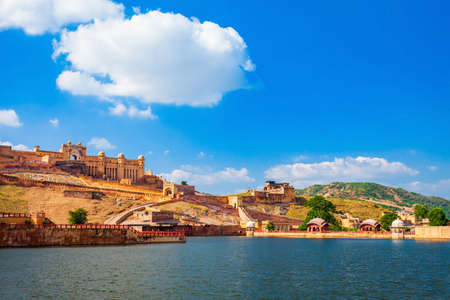 Amer Fort or Amber Fort and Maota Lake are located near Jaipur city in Rajasthan state of India 版權商用圖片