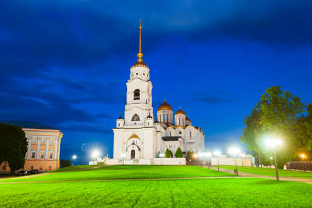 Dormition or Holy Assumption Cathedral in Vladimir city, Golden Ring of Russia at night